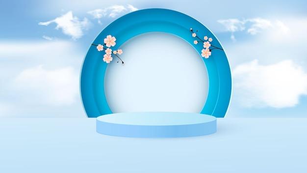 Scena minimale con forme geometriche. podio cilindrico azzurro con fiori primaverili di carta.