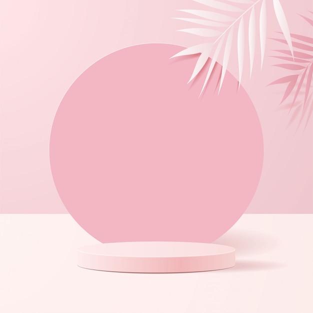 Scena minimale con forme geometriche. podi cilindro in morbido sfondo rosa con carta lascia sulla colonna. scena per mostrare prodotti cosmetici, vetrina, vetrina, vetrina. .