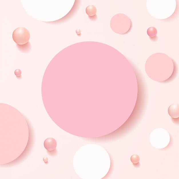 Scena minimale con forme geometriche. podi cilindro vista dall'alto in morbido sfondo rosa con palline. scena per mostrare prodotti cosmetici, vetrina, vetrina, vetrina. .