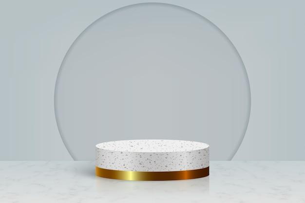 Scena minimale con podio in pietra di marmo dorato