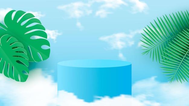Una scena minimale con un podio cilindrico azzurro con foglie tropicali contro il cielo.