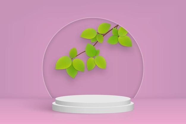 Scena minima con podio e foglie, sfondo rosa di presentazione del prodotto cosmetico
