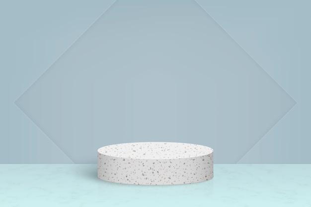 Scena minima con podio in pietra di marmo terrazzo, sfondo di presentazione del prodotto cosmetico