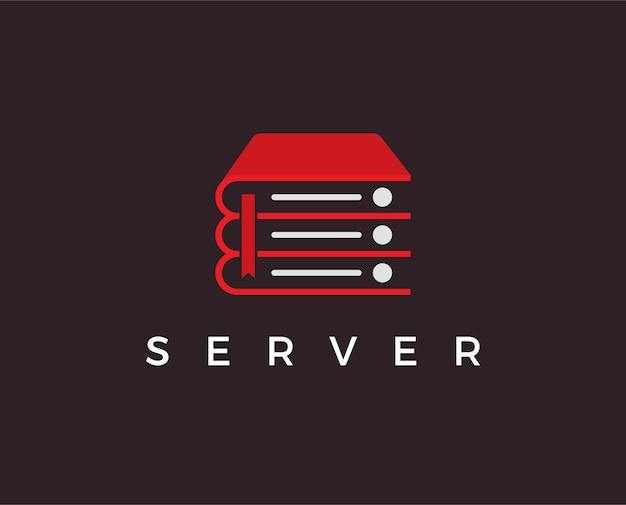 Modello di logo del libro del server minimo