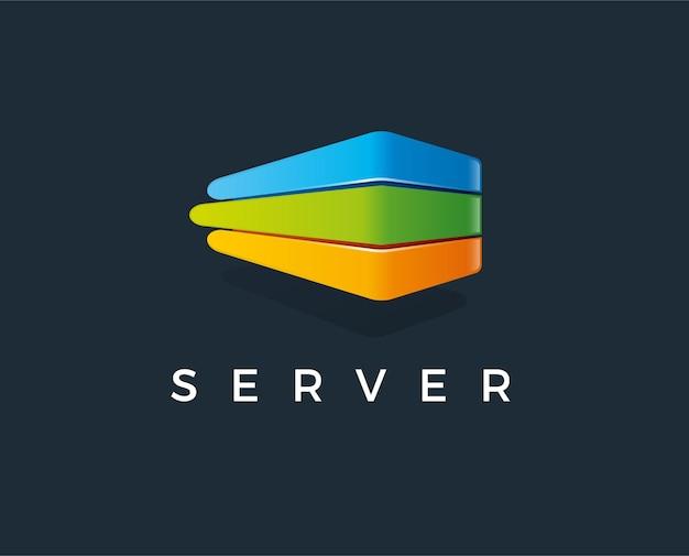 Illustrazione minima di vettore del modello di logo del server