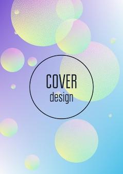 Cover dalle forme minimali con texture fluida olografica e punti mezzatinta. forme sfumate su sfondo vibrante. modello moderno per cartellone, presentazione, banner. cover dalle forme minimali in colori neon.