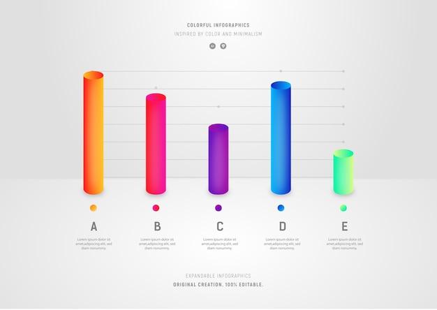 Grafici a barre colorati in stile minimal