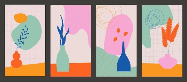 Forme e fiori organici in stile minimal con copia spazio per il testo set vettoriale di poster alla moda