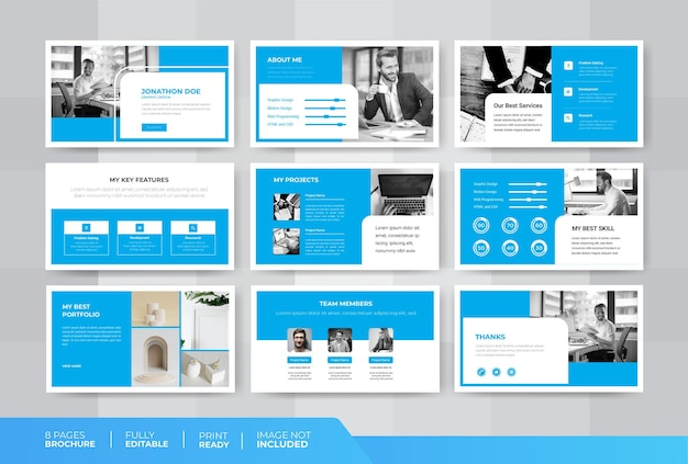 Modello di diapositive del portfolio di powerpoint in stile minimale