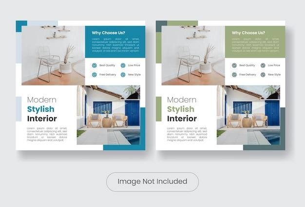 Set di banner modello post social media mobili minimal ed elegante