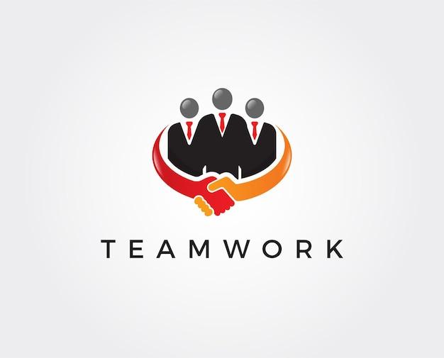 Modello di logo di lavoro di squadra minimo