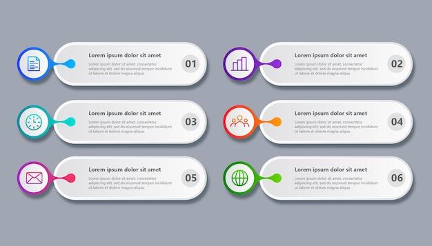 Modello minimo di infografica aziendale con 6 passaggi