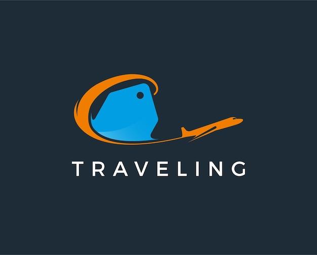 Modello di logo di viaggio minimo