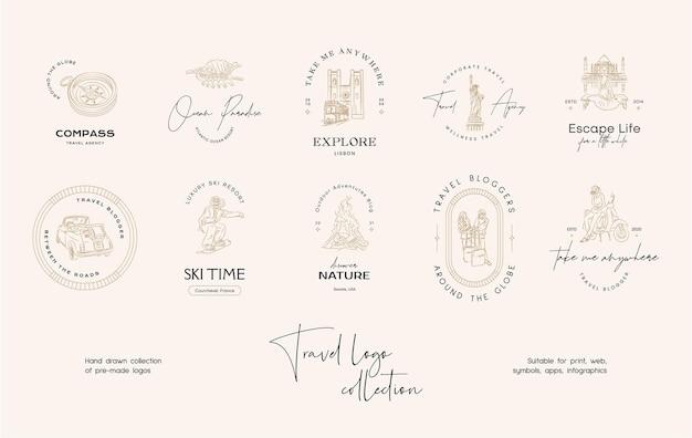 Collezione di modelli di design del logo vettoriale di viaggio minimo per agenzia di viaggi o blogger di viaggi