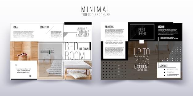 Modello di brochure a tre ante minimo con foto
