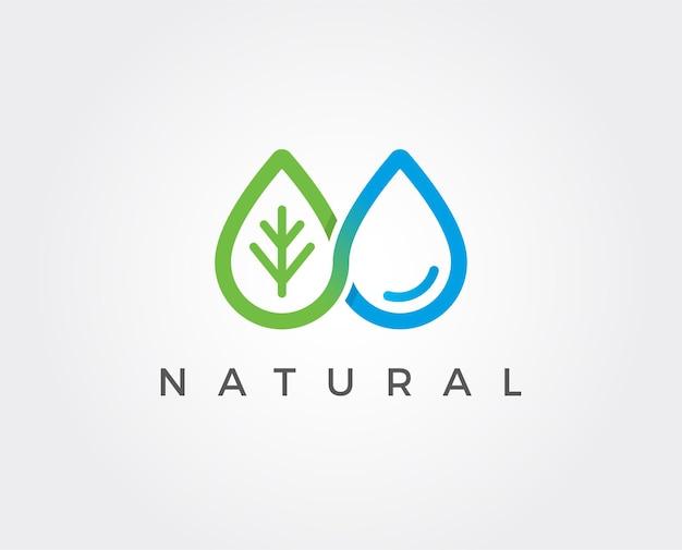 Modello di logo con goccia d'acqua minima
