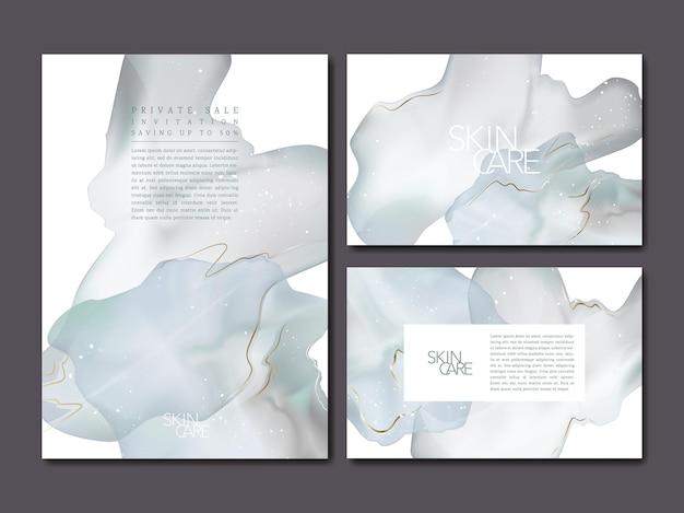 Set di modelli astratti effetto acquerello minimo