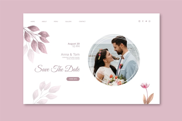Modello di pagina di destinazione del matrimonio minimo
