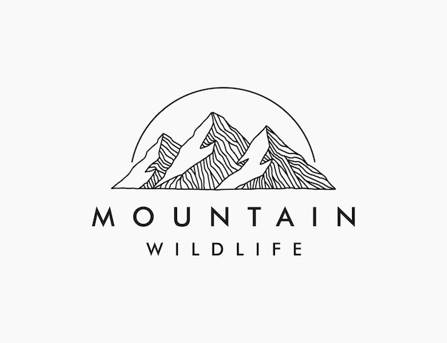Modello di logo di montagna minimalista line art