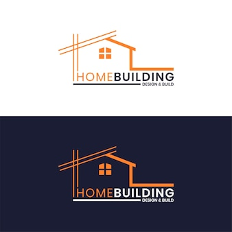 Modello di logo di architettura della costruzione domestica di minimalismo