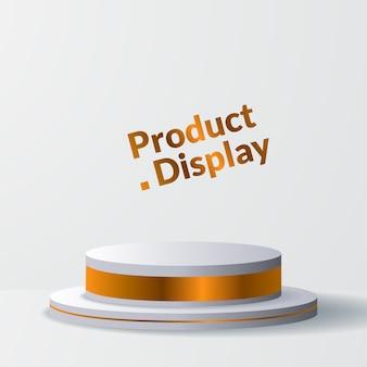 Cilindro dorato di lusso minimalista per l'esposizione del prodotto con piedistallo da palco o podio