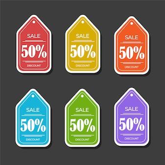 Banner di tag di vendita di sconto adesivo minimalismo con pacchetto di colori diversi. vettore