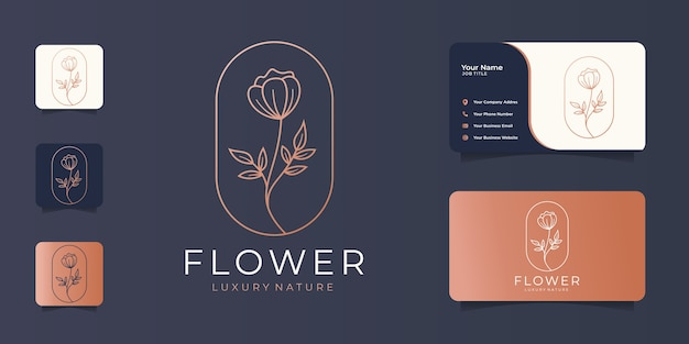 Linea arte minimalista fiore astratto bellezza, moda, rosa, cosmetici e biglietto da visita