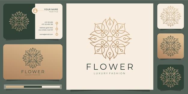 Salone di bellezza di lusso minimalista fiore astratto rosa, moda, cura della pelle, cosmetici, yoga e prodotti termali con biglietto da visita.