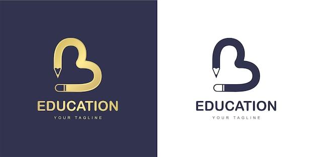 Marchio della lettera b minimalista con il concetto di educazione