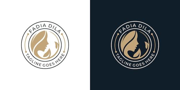 Emblema distintivo minimalista bellezza donna faccia logo