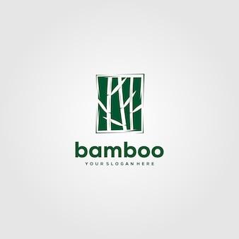 Progettazione di bambù minimalista dell'illustrazione di logo nello spazio negativo
