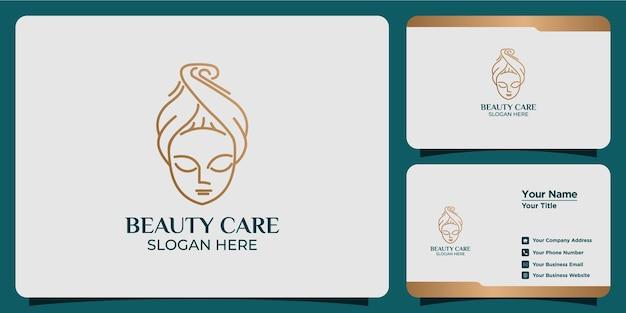 Logo astratto di bellezza minimalista salone e spa silhouette forma concetto logo e modello di biglietto da visita