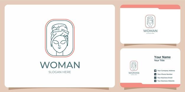 Logo astratto di bellezza minimalista salone e spa sagoma concetto logo e modello di biglietto da visita