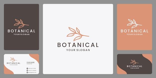 Vettore di design del logo botanico di bellezza minimalista con stile di arte di linea