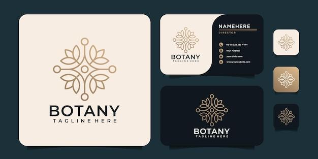 Logo minimalista del fiore di botanica di bellezza per l'hotel del salone della stazione termale