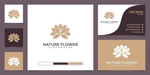 Fiore di loto di bellezza minimalista con logo di lusso cornice e biglietto da visita