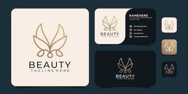 Logo minimalista della foglia del fiore del monogramma di bellezza