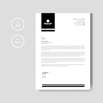 Modello di layout di carta intestata nero minimalista