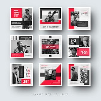 Modello sociale rosso minimalista social media banner banner post instagram