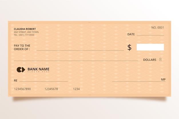 Modello di assegno in bianco minimalista