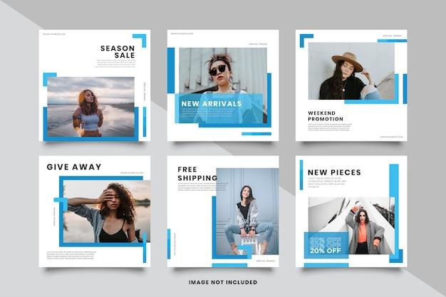 Collezione di modelli di post sui social media blu minimalista