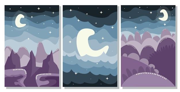 Set di poster di paesaggi boho minimalisti. vista da favola notturna in montagna
