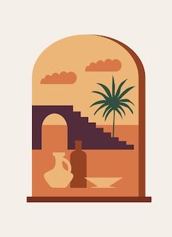 Un poster boho minimalista di una finestra mistica ad arco