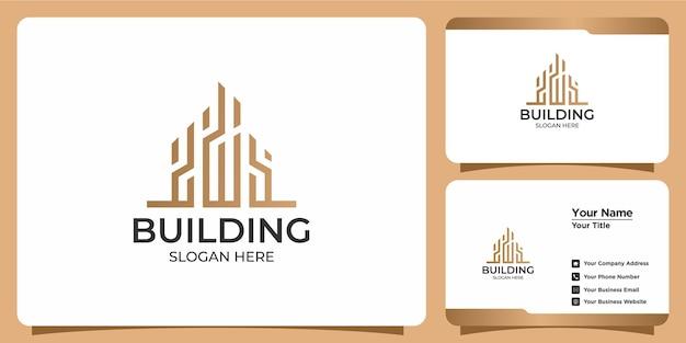 Logo edificio minimalista con design del logo in stile line art e modello di biglietto da visita