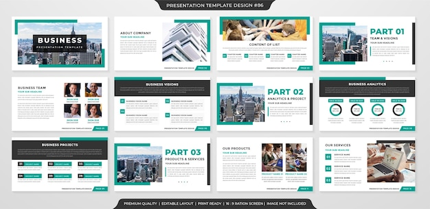 Stile premium modello di layout presentazione aziendale minimalista