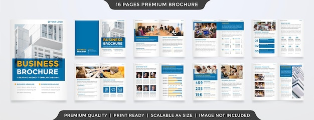 Design minimalista del modello di proposta di business con il concetto di brochure bifold e l'uso di uno stile di layout pulito per il profilo aziendale e la relazione annuale