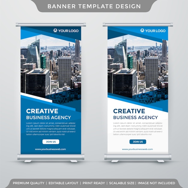 Modello di banner roll up business minimalista