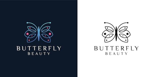 Bellezza minimalista di arte di linea di farfalle, stile spa di lusso. design del logo