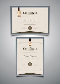 Modelli di certificato minimalista con stile vintage