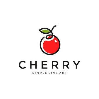 Design minimalista del logo cherry con colore in stile line art vector